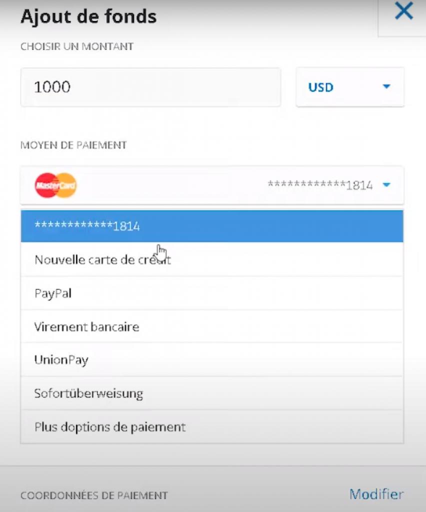 eToro - ajout de fonds