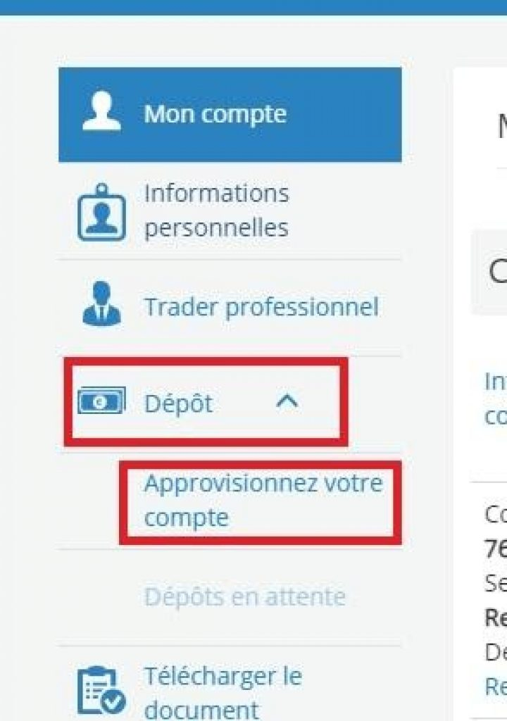 AvaTrade - Dépôt