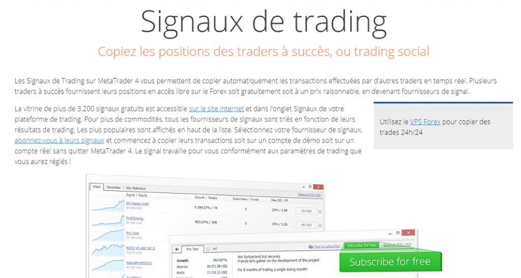 Signaux de trading manuels