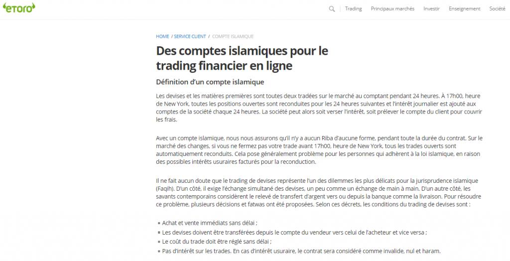 eToro - Comple Islamique