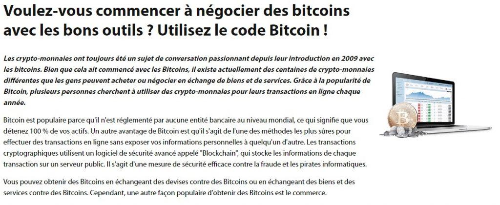 Bitcoin Code - Negocier des Bitcoins