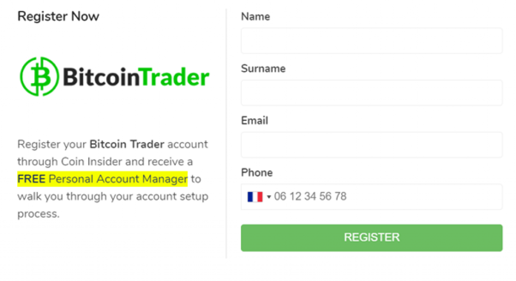 Bitcoin Trader - Comment ouvrir un compte